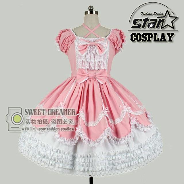 6161d8b478 Tamaño personalizado romántico Rosa princesa vestido Lolita gasa los niños  trajes góticos fiesta de cumpleaños vestido