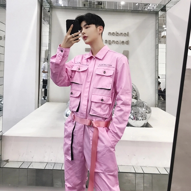 Fashion Streetwear Casual Cargo Pants Male Long Sleeve Overalls Jumpsuit Pants