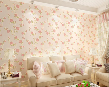 beibehang papel de parede Classic nonwovens Korean pastoral flowers beautiful warm living room bedroom full of wallpaper tapety