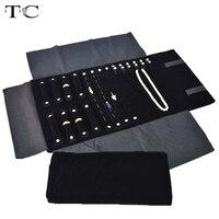 Jewelry Foldable Roll Bag For Travel Portable Carring Case Velvet Organizer Multi Functional Necklace Rings Earrings