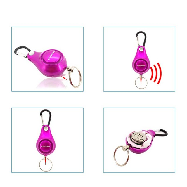 Women 's self  Defense Anti-Wolf Pull Point Backpack Personal Alarm Siren Ring Pull Key Pendant FC