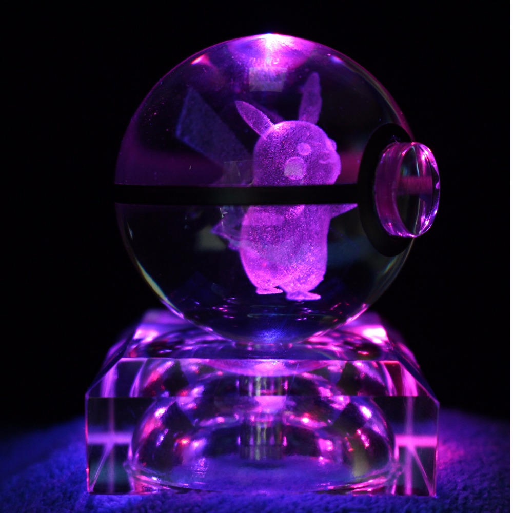 Cool Game Pokemon Go Snap Cute 3D Pikachu 2 Inch Crystal Glass Ball with LED base Figiure