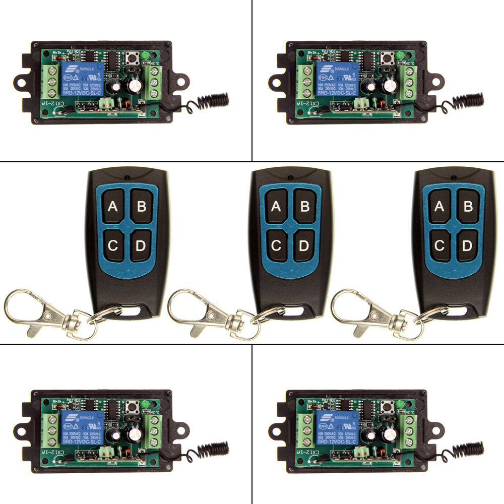 DC 9V 12V 24V 1 CH 1CH RF Wireless Remote Control Switch System,315/433.92,  3X 4CH Waterproof Transmitters + 4X Receiver ac 85v 250v 1ch rf wireless remote control switch system 1 transmitters