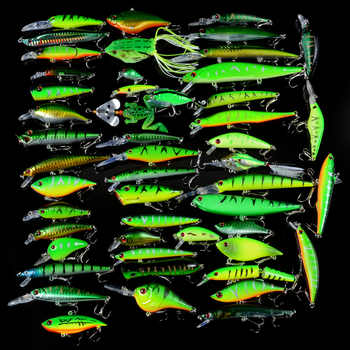 New 50pcs/ Set Fishing Lures Mixed 50 Varisized Minnow/Crank/VIB/Popper Lure and Rubber Soft Bass Spinnerbait Spoon Fish Tackle - DISCOUNT ITEM  35% OFF All Category