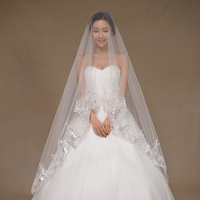 2016 New Bride Veils White Ivory 3 meters Long Wedding Veils One Layer Lace Edge Wedding Accessories Veils