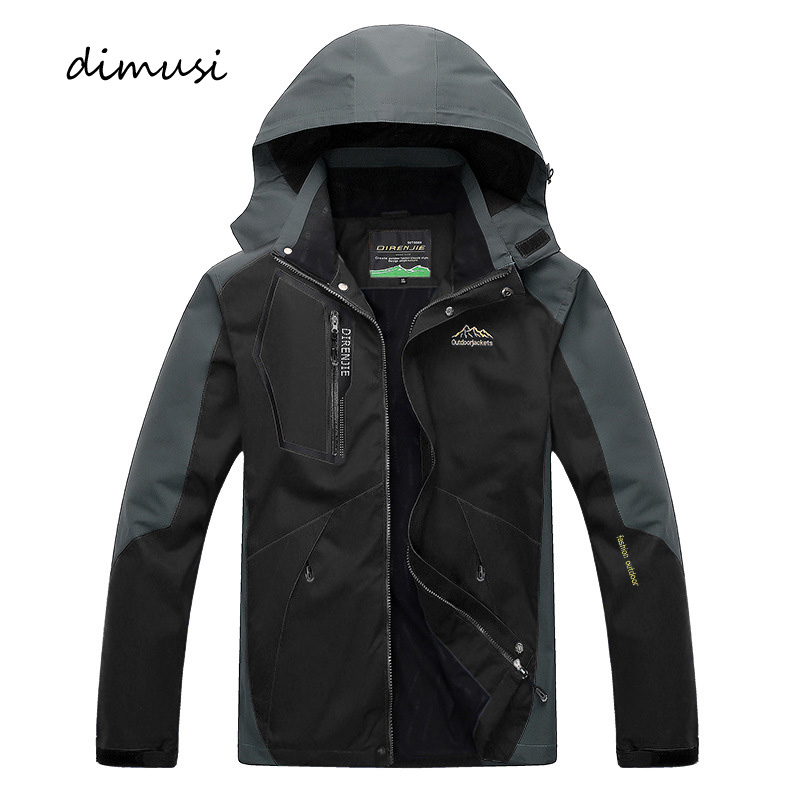 DIMUSI Mens Jackets Autumn Winter Casual Mens Army Windbreaker Hooded Coats Bomber Jacket Men Women Fashion Waterproof Jackets