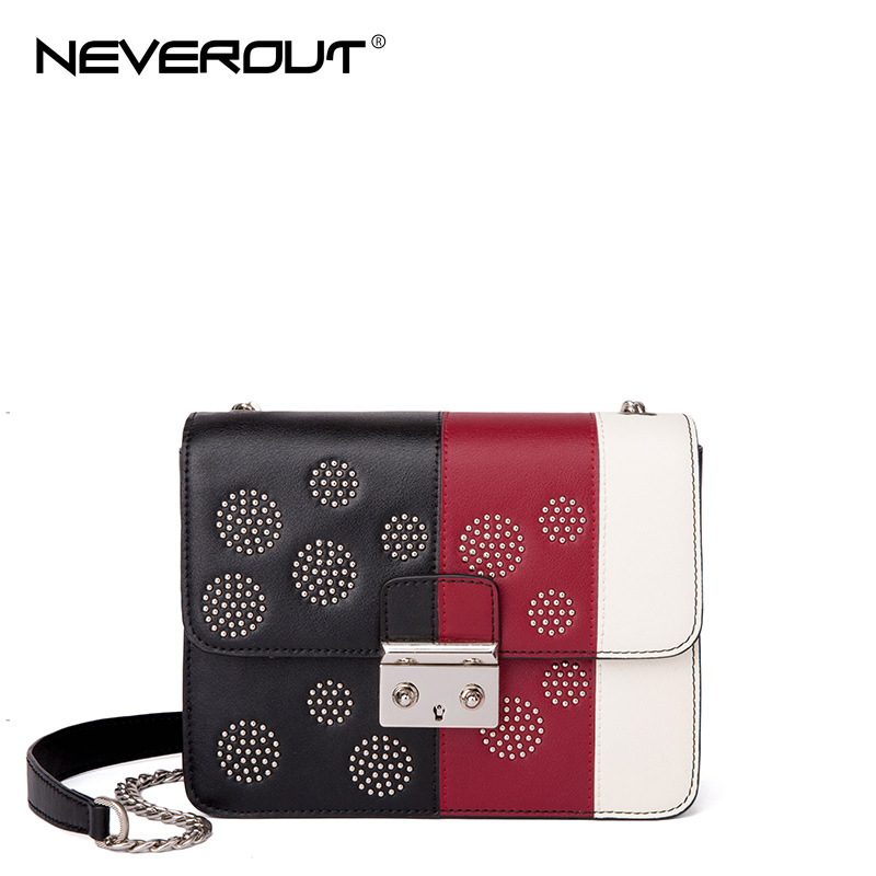 NeverOut Brand Name Color Mixed Bags Split Leather Shoulder Bags For Women Messenger Bags Fashion Ladies Travel Crossbody Bag 2017 fashion all match retro split leather women bag top grade small shoulder bags multilayer mini chain women messenger bags