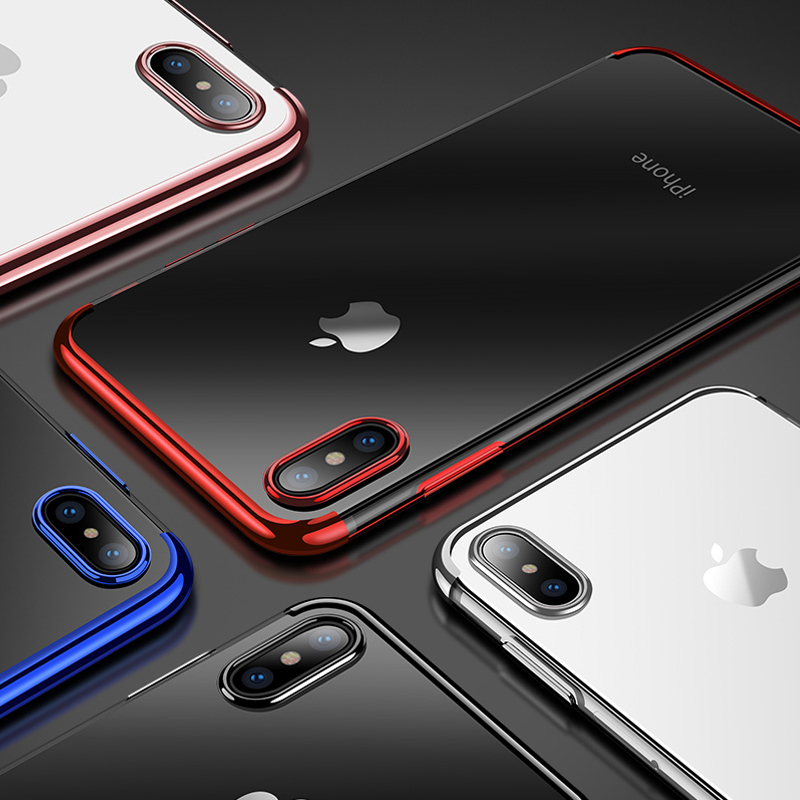 Shockproof Plating Clear Silicone Phone Cases for iPhone 11 Pro MAX XR X XS MAX Soft TPU Cover for iPhone 6 6s 7 8 Plus 10 Logo 5