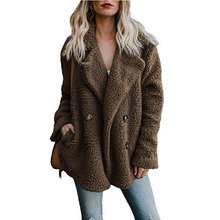 High Quality Office Lady Winter Teddy Coats Thick Jacket Lambswool Long Tops Oversized Faux Fur Coat Women Outwears Warm Jacket 2017 new lady coats winter jacket leather coat high quality and sexy women fashion thick coats thermal super warm jacket 2017