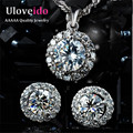 50% off Wedding Jewelry Sets Crystal Necklace Set Brincos for Women Accessories Silver Plated White Earrings 2017 Ulove JST001