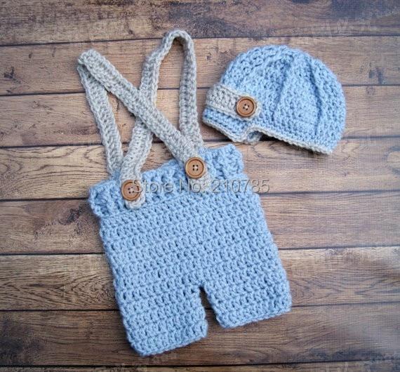Free shipping,Baby Suspenders, Baby Boy Crochet Hat and Short Set, Crochet Baby Pants, Newborn Photo Prop