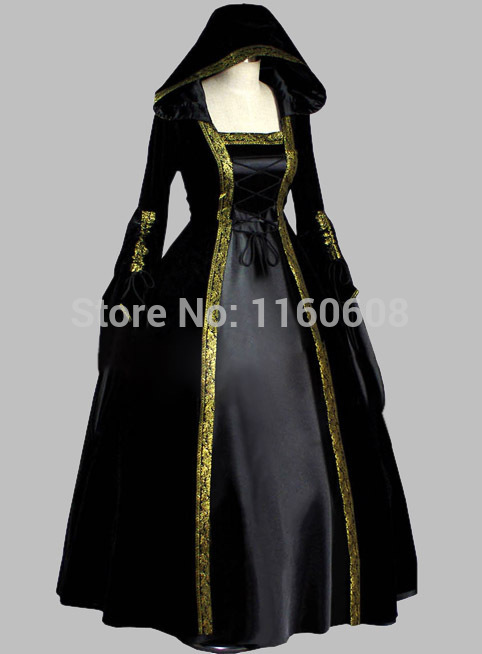 gothic black velvet amp silk like halloween witch cosplay