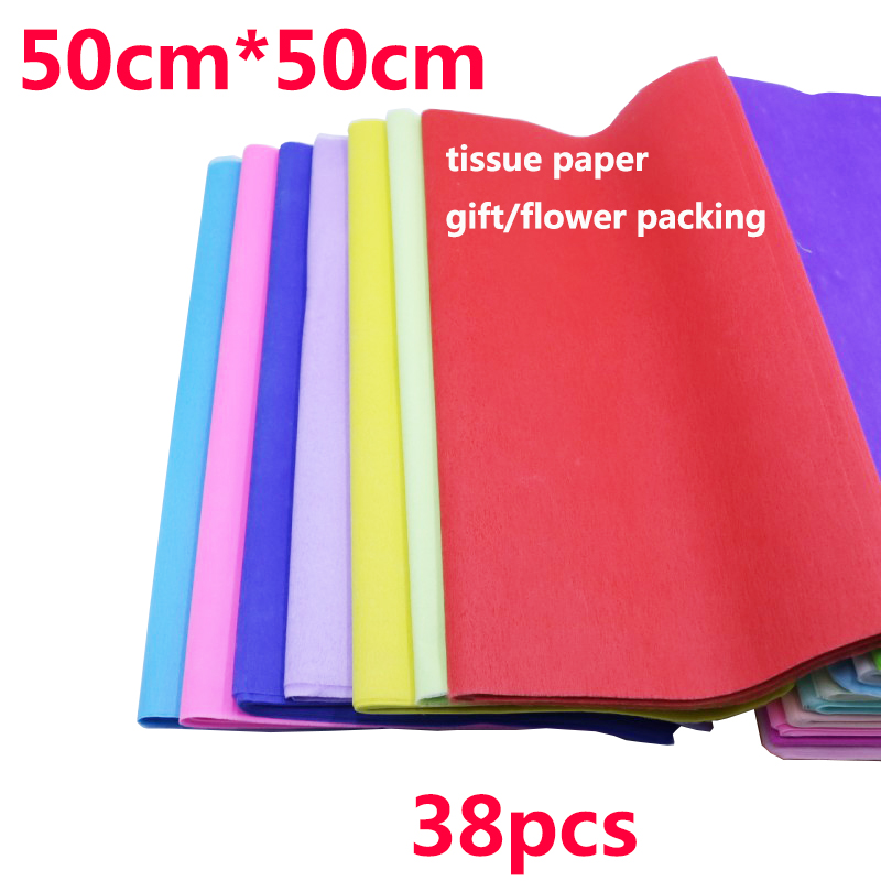 38pcs/bag 50x50cm Tissue Paper Flower Clothing Shirt Shoes Gift Packaging Craft Roll Wine Wrapping Papers