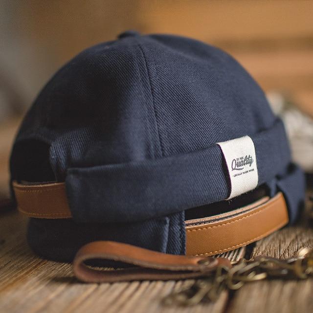 MADEN mens and womens adjustable denim beanie skull cap dockworker hat roll cuff sailor hat male