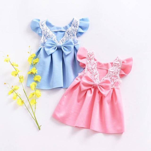 Baby Girls Dress pink/blue Toddler Girls Backless Lace Bow Princess Dresses Tutu Party Wedding birthday Dress for girls Easter