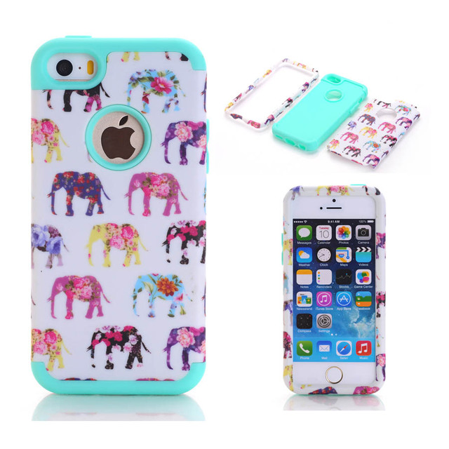 new product efd2d 7b366 US $6.99 |For iPhone SE Case for iPhone 5S Case For iPhone 5 6 6S 6/6S Plus  CElephant Hybrid Armor Silicone Rugged Case Protective Cover-in Fitted ...