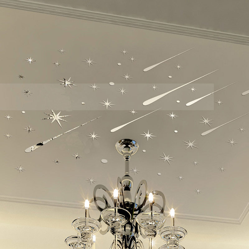 3D Meteor Stars Universe Shooting Shiny Star Wall Sticker Reflective Wall  Decals For Home Decoration Mirrors Part 71