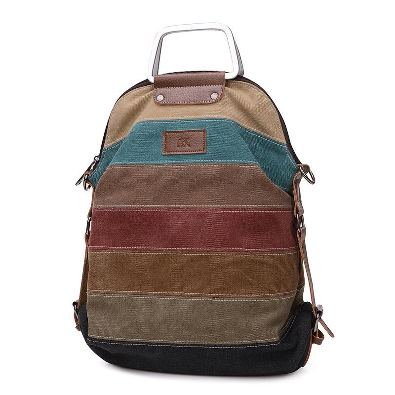 Panelled Sripe Canvas Backpack Women Vintage Female Backpack Brand Designer Teenage Girl Backpacks Casual Women Shoulder Bag