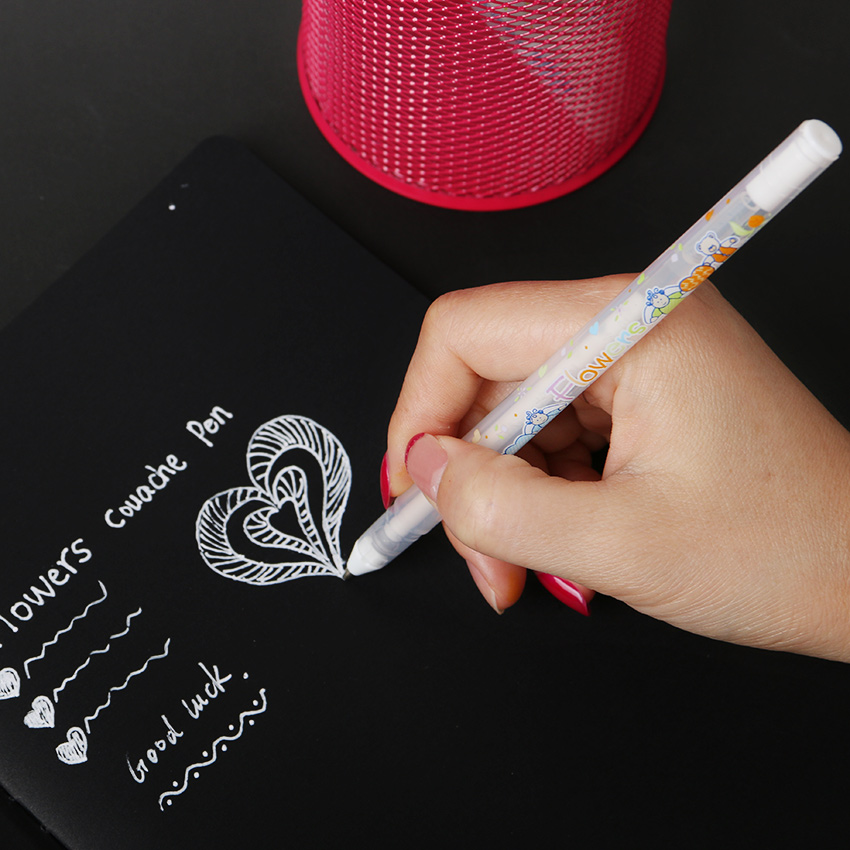 4PCS 0.8MM White Ink Photo Album Gel Pen Stationery Office Learning Cute Unisex Pen Wedding Pen Gift For Kids Writing Supplies