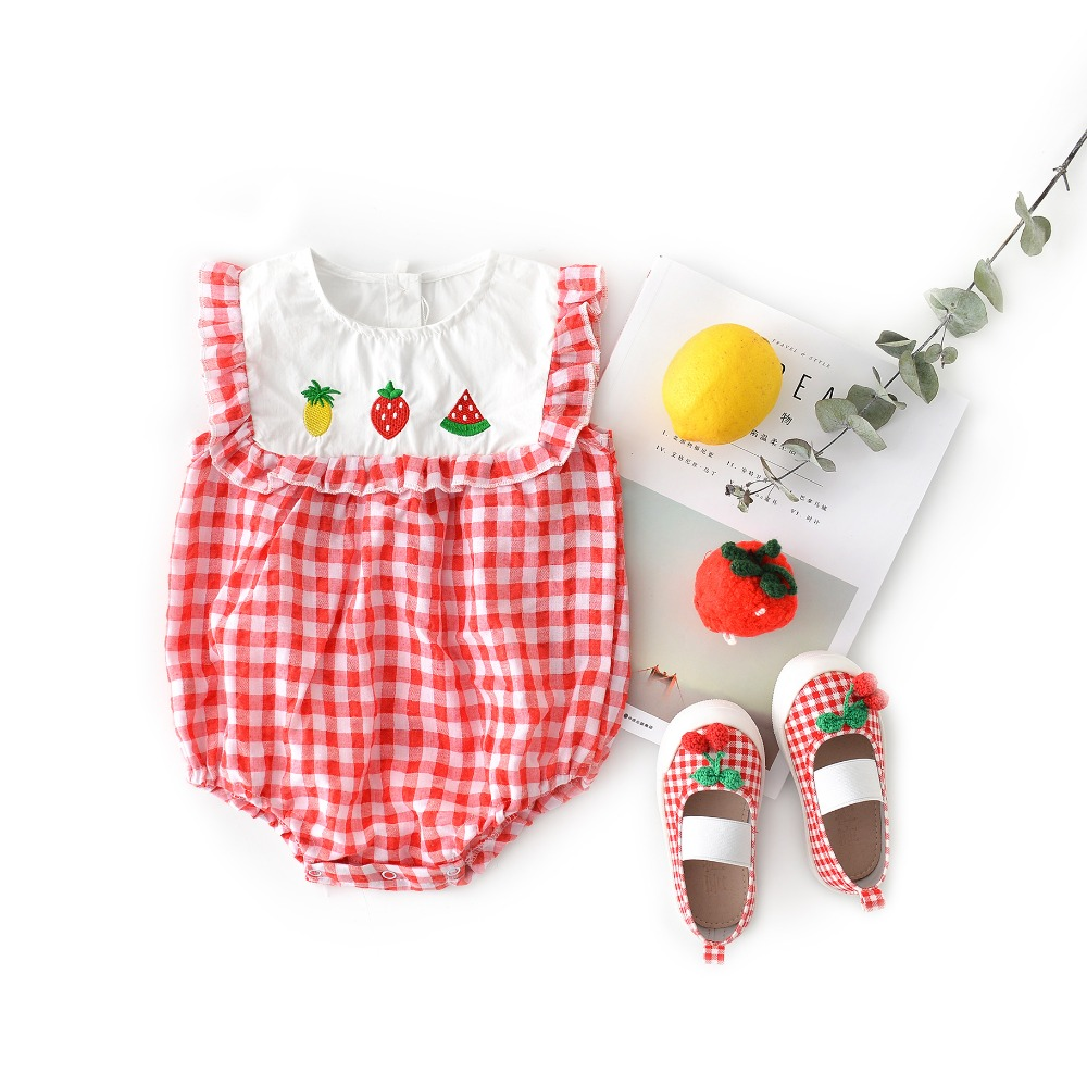 6f06091591fbf Summer Smocking Baby Rompers Sweet Baby Girls Embroidered Fruits ...
