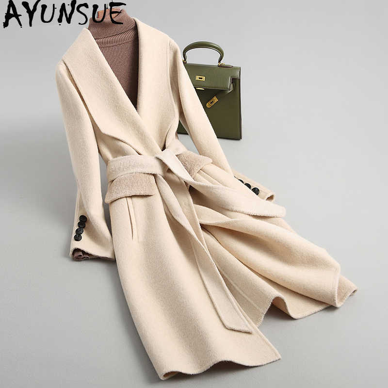 AYUNSUE 2019 Women Wool Coat Alpaca Cashmere Autumn Winter Female Jacket Long Double-sided Woolen Coats With Belt 38087 WYQ2101