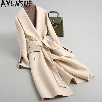 AYUNSUE 2019 Women Wool Coat Alpaca Cashmere Autumn Winter Female Jacket Long Double-sided Woolen Coats With Belt 38087 WYQ2101