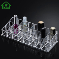 New Arrival 9 12 24 36 Grid Transparent Lipstick Holder Clear Acrylic Display Stand Sundry Storage