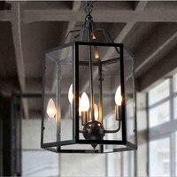 Лофт стиль педант свет американский кантри Ретро клетку лампы творческий ресторан бар домашнего освещения железной клетке с абажуром