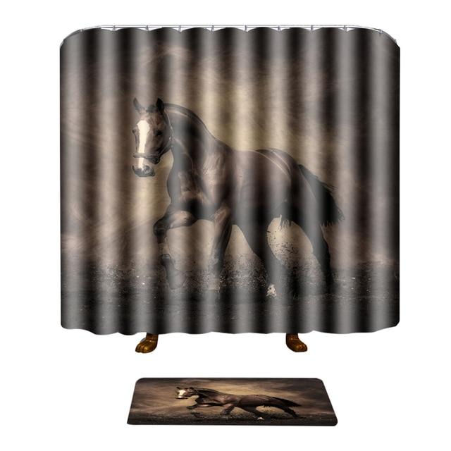 EHOMEBUY Shower Curtains Shower Curtain With 12 Hooks Waterproof Running Horse  Bathroom Set Bath Mat Rug