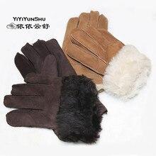 Yiyyunshu перчатки из натуральной кожи для мужчин зимние теплые толстые настоящие кашемировые овчины варежки мужские зимние кожаные шерстяные перчатки