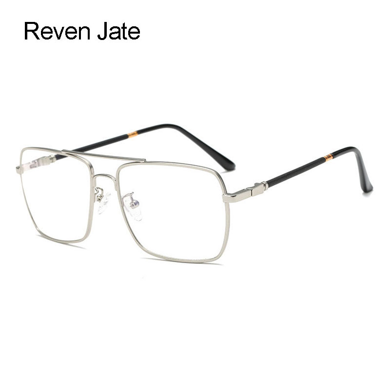Reven Jate Full Rim Square Shape Alloy Men Optical Eyeglasses Frame Prescription Man Eyewear Rx-able Glasses Spectacles Frame image