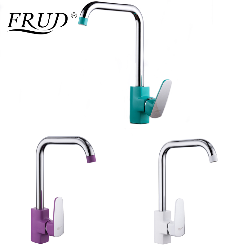 FRUD 1 Set Solid Kitchen Mixer Colorful Flexible Kitchen Tap Single Holder Single Hole Kitchen Faucet Torneira Cozinha R40301/2