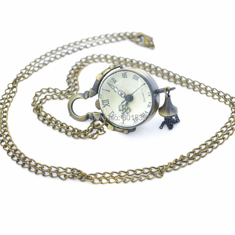 Bronze Tone Ball Design Crystal Glass Japan Quartz Movement Necklace Women Lady Pocket Watch Nice Gift H039