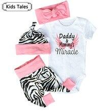 2018 Fashion Newborn Baby Girls Autumn Infant Clothes Baby Clothing Set Cotton Romper+Pants+Hat+Headband Toddler 4Pcs suit SY240