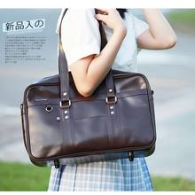 Embossed Japanese Student Bags Handbags High College Students Uniform Bag Shoulder Bags Messenger Bags PU Leather For Women Men(China)
