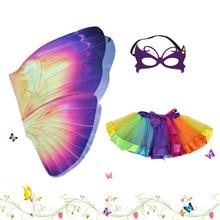 D.Q.Z Фея дівчата Фіолетовий бабочка крила Діти одягаються костюми Туту юбка подарунки на День народження Пасха Косплей Баттерфляй дівчата