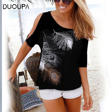 DUOUPA 2019 Summer Women Blouses Casual Short Sleeve Tops Tees Sexy Off Shoulder O-neck Feather Print Blouse Shirt Plus Size 5XL chic round neck raglan sleeve feather print blouse for women