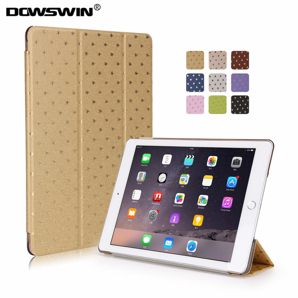 for ipad air 2 case,dowswin pu leather for ipad 6 star pattern smart wake up sleep with matte pc back cover +small gift for apple ipad air 2 pu leather case luxury silk pattern stand smart cover