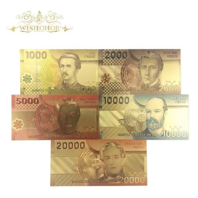 5 teile/los Chile Farbe Gold Banknote Set 1000-20000 Pesos Gold Anmerkung Gefälschte Papier Geld Für Souveni Geschenke