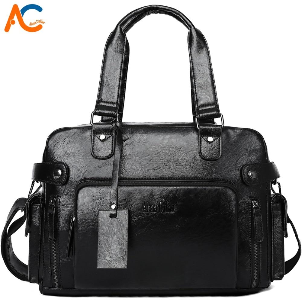 Alena Culian Large Capacity Men Travel Bags Black Leather Men s Handbag Weekend Duffle Shoulder Bag