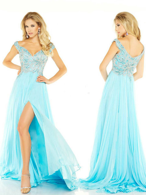 Fashion Off the Shoulder Beaded Light Blue Pageant Gowns Floor ...