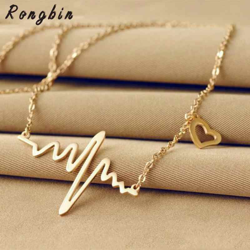 Wave Heart Chic ECG Heartbeat Rose Gold/Silver Color Pendant Charm Maxi Necklaces Chain Rhythm Valentine's Day Gifts