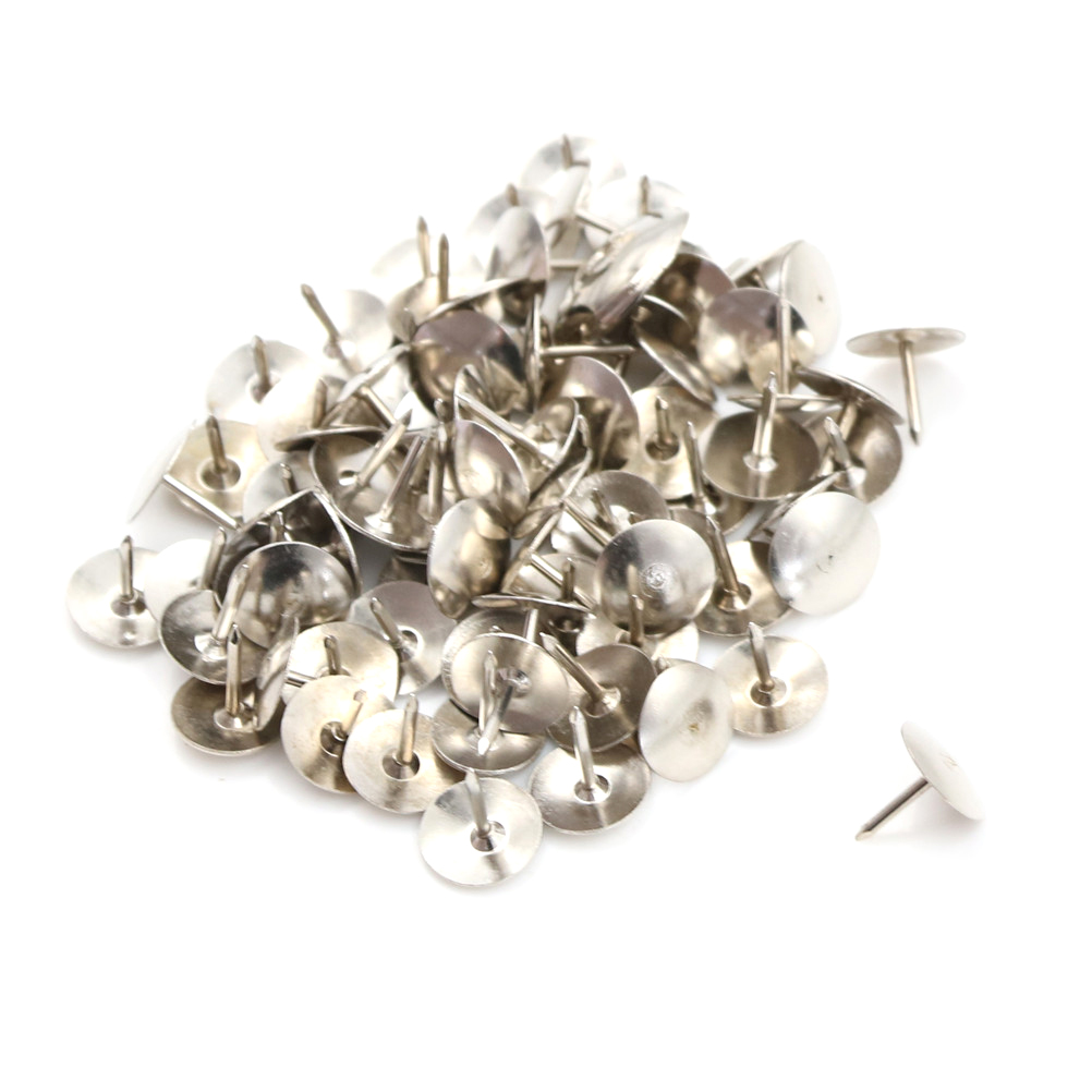 80 Pcs Silver Thumbtacks Tone Corkboard Photo Push Pins Wholesale