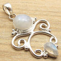 Silver Plated Original RAINBOW MOONSTONE 2 Gemset Old Style Pendant 4.2 CM