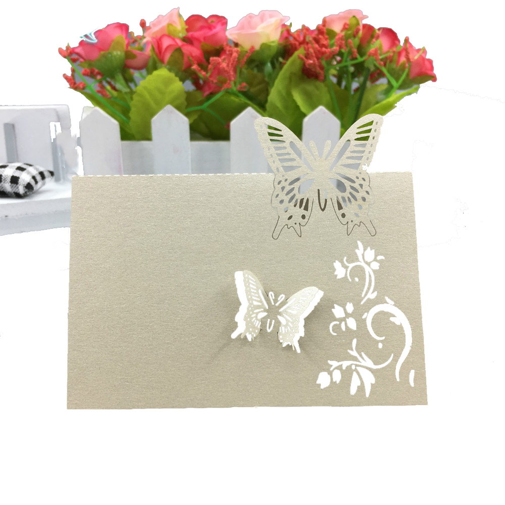 50pcs/lot Hollow Butterfly Wedding Invitations Laser Table Name Card Wedding  Decoration For Supplies Business