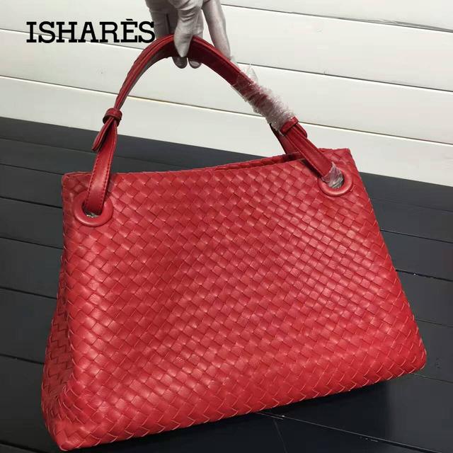 ISHARES fashion design genuine leather handbag sheepskin knitting totes bag double shoulder belt woven lambskin handbag IS179320