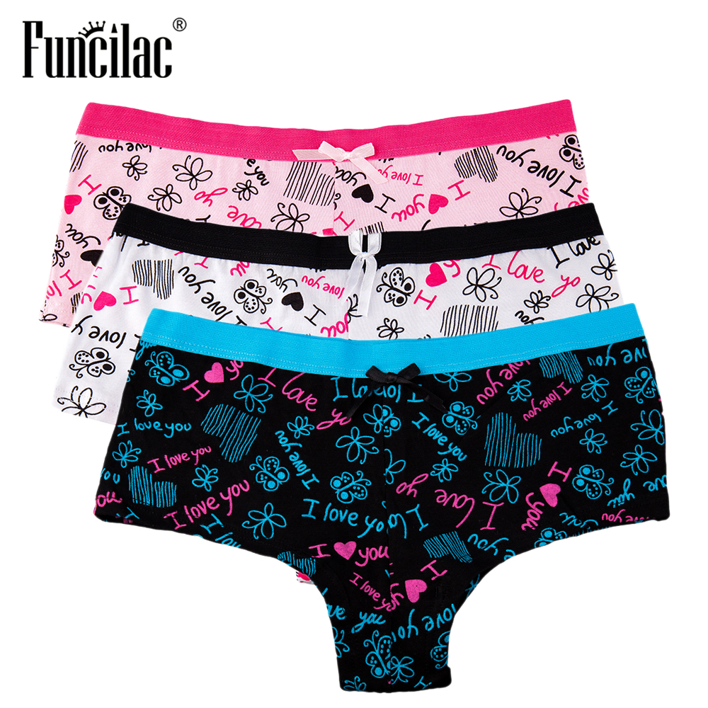 FUNCILAC Sexy Women   Panties   Cotton Boyshort kawaii Underwear Transparent Lace Lingerie Letter Butterfly Print Briefs 3 Pcs/set