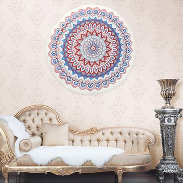 Round Chiffon Tassel Tapestry Colored Printed Decorative Indian