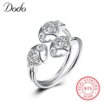 DODO Real 925 Sterling Silver Rings Women Adjustable Kiss GoldFish Wedding Ring Fashion Sterling Silver Jewelry