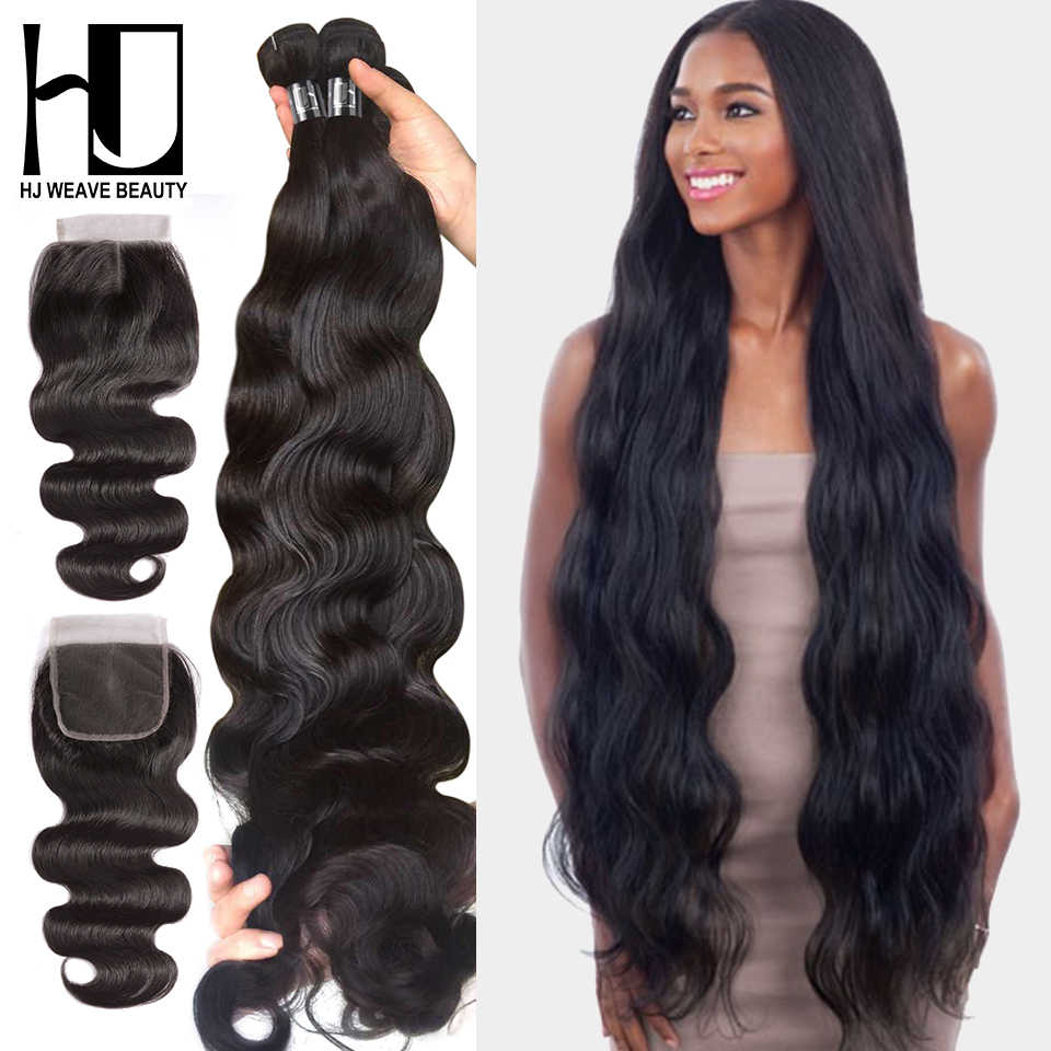 HJ Weave Beauty Body Wave Human Hair Bundles With Closure 30 32 34 38inch 7A Virgin Hair Brazilian Hair Weave Bundles